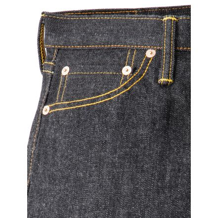 4002 13.5oz Black Denim Pants Slim Straight