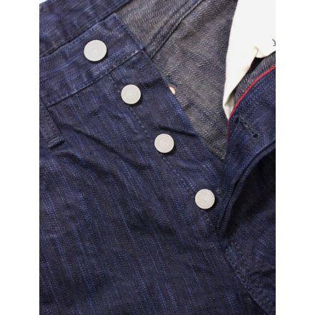 8074-1401 15 oz Natural Indigo x Indian Ink Hand Dyed 5 Pocket Jeans (Navy)