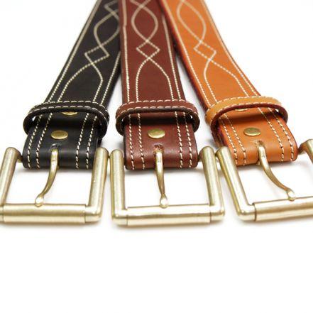 OGB40030AB Tochigi leather leather men's belt 40mm width Western stitch belt