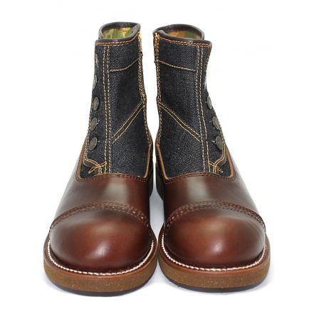 MD-016 Momotaro Jeans Denim Button Boots (Brown)
