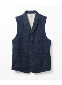 04-040 10oz Shindenim shawl collar vest