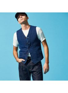 4477 Indigo Dobby Cloth Vest
