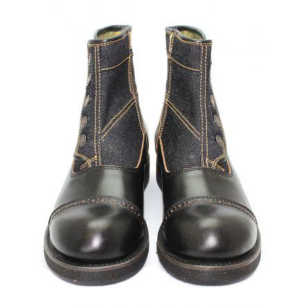 MD-016 Momotaro Jeans Denim Button Boots (Black)