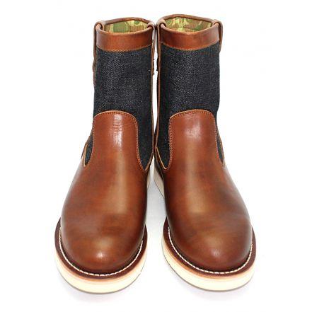 MD-019 Momotaro Jeans Denim Farmer Boots (Brown)